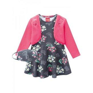 Vestido Infantil Flores Delicadas, Acompanha Bolero E Máscara- Kyly