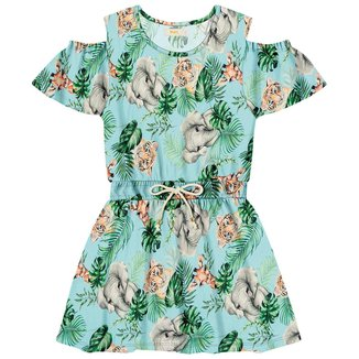 Vestido infantil Florido Trick Nick Azul 4