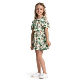 Vestido infantil Florido Trick Nick Bege 10