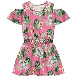 Vestido infantil Florido Trick Nick Roxo 6