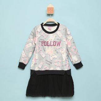 Vestido Infantil For Girl Follow Cachorro Manga Longa