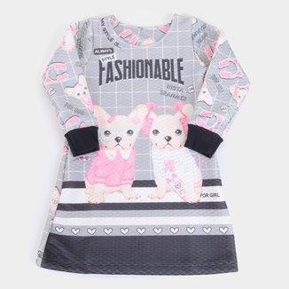 Vestido Infantil For Girl Matelassê Sublimado Dog