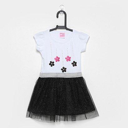 Vestido Infantil For Girl Tule Aplicacao Flores E Strass