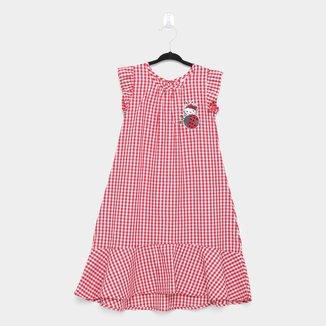 Vestido Infantil Hello Kitty Manga Curta Tecido Xadrez