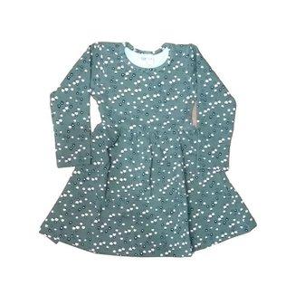 Vestido Infantil Inverno Em Molecotton, Cor Verde Escuro, Flores - Fakini Forfun