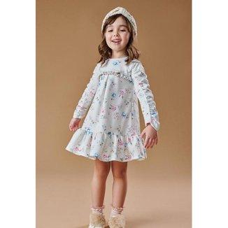 Vestido Infantil Inverno Flores Delicadas - Kiki Xodó