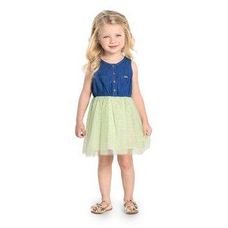 Vestido Infantil Jeans com Tule Trick Nick Verde M