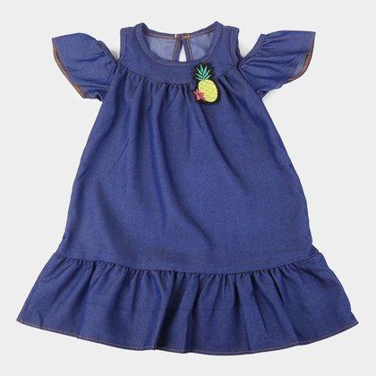 Vestido Infantil Jeans Elian Curto Com Bordado