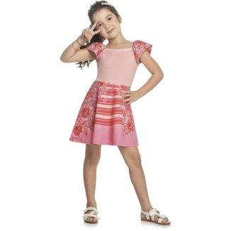Vestido Infantil Kely & Kety Verão Flores Feminino