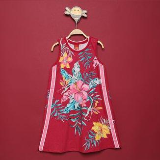 Vestido Infantil Kyly Floral e Listra Lateral