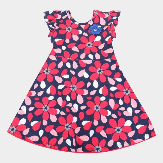 Vestido Infantil Kyly Floral - Vermelho