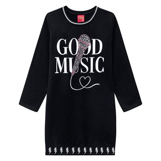 Vestido Infantil Kyly Moletinho Good Music Manga Longa