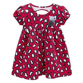 Vestido Infantil Kyly Onça Evasê Pompom