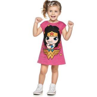 Vestido Infantil Loungewear Verão Mulher Maravilha, Rosa, Produto Licenciado - Romitex