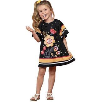 Vestido Infantil, Manga Curta, Preto Com Detalhes Em Flores e Paetês - Nanai