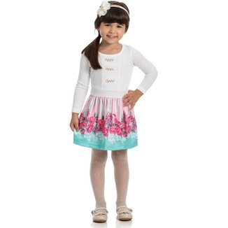 Vestido Infantil Manga Longa, Flores- Gueda