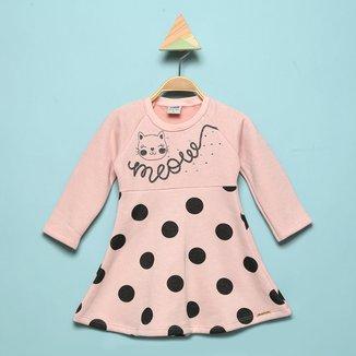Vestido Infantil Marlan Poá Flamê Manga Longa