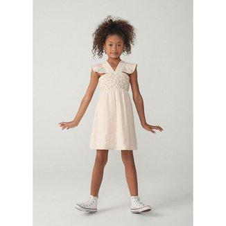 Vestido Infantil Menina Em Tecido De Algodão Feminino