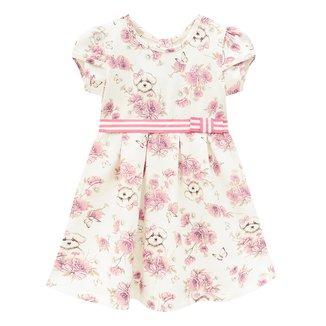 Vestido Infantil Milon Cotton Floral c/ Laço Feminino
