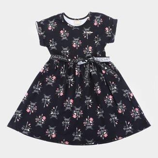 Vestido Infantil Milon Cotton Paris Com medalhinha e Laço