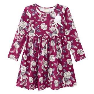 Vestido Infantil Milon Estampado c/ Pompom Manga Longa