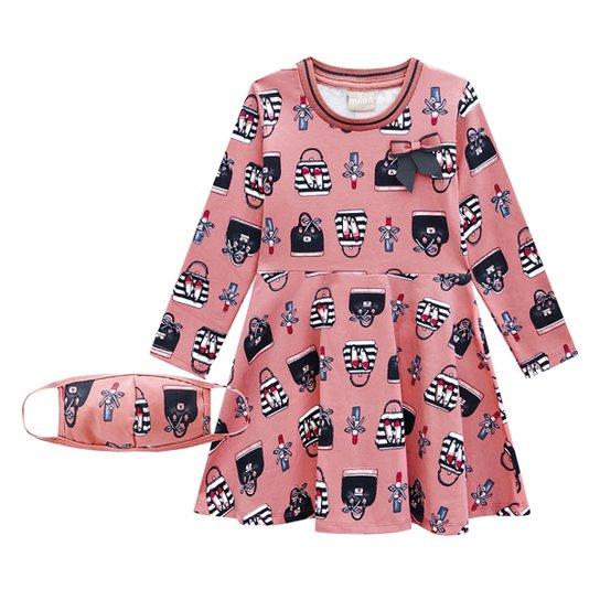 Vestido Infantil Milon Estampado Manga Longa - Rosa