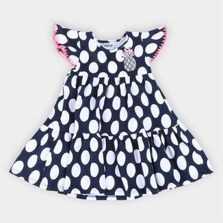 Vestido Infantil Nanai Estampa Poá e Abacaxi Bordado