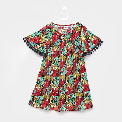 Vestido Infantil Nanai Tricoline Estampado