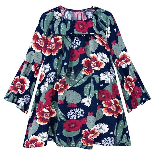Vestido Infantil Nanai Tricoline Viscose Manga Longa Floral - Marinho