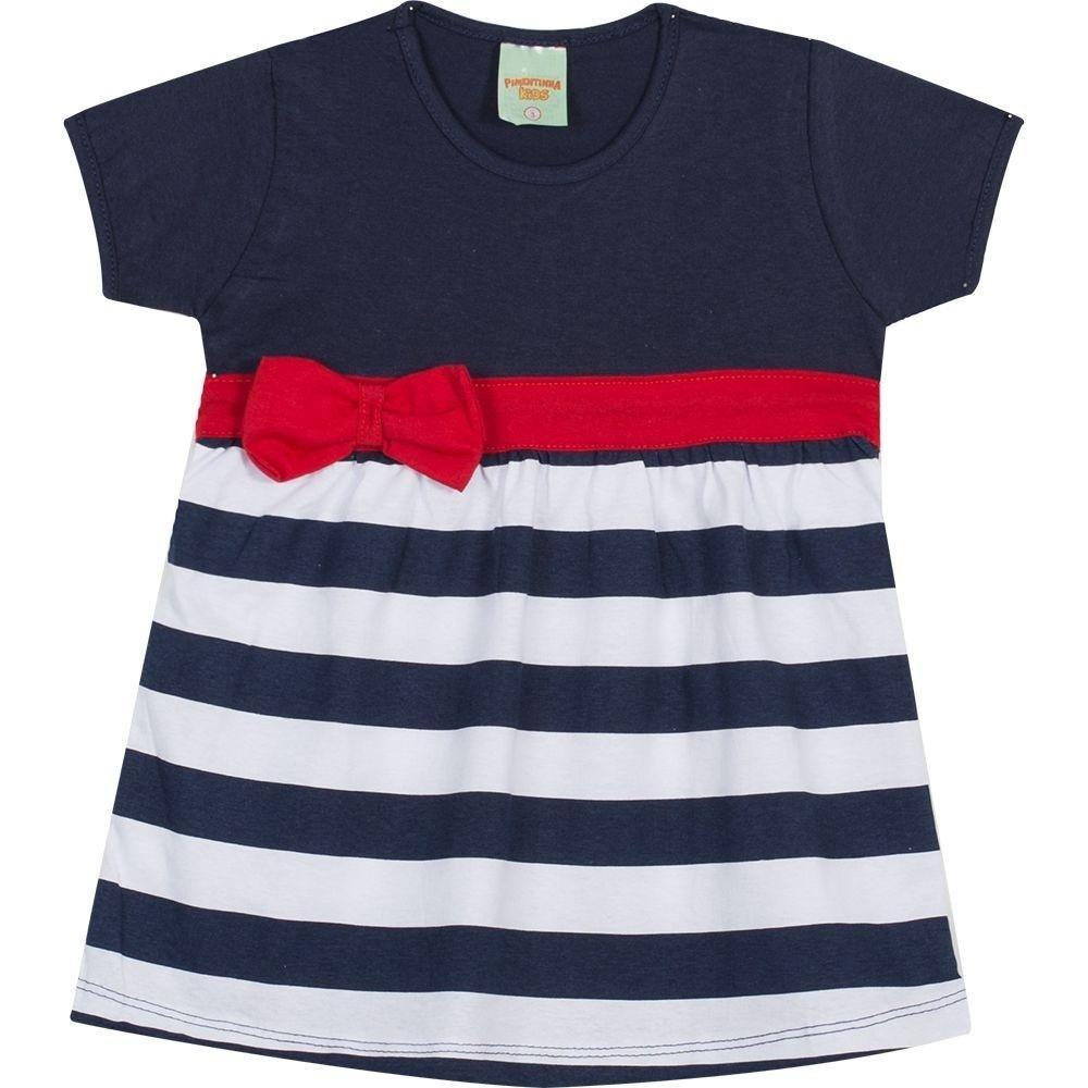 1aaf5c0c280e5 Vestido Infantil Pimentinhas Kids Listrado C  Lacinho em Meia Malha -  Compre Agora