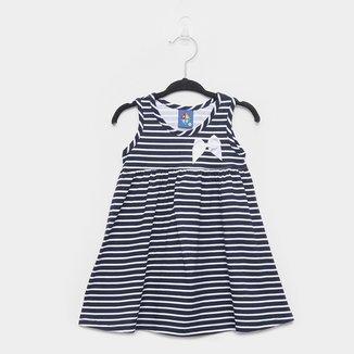 Vestido Infantil Pipa Meia Malha Listrado Com Laço