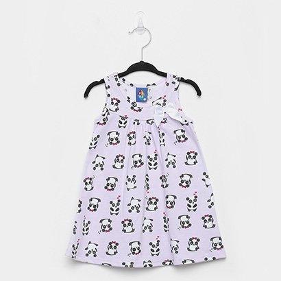 Vestido Infantil Pipa Panda Laço