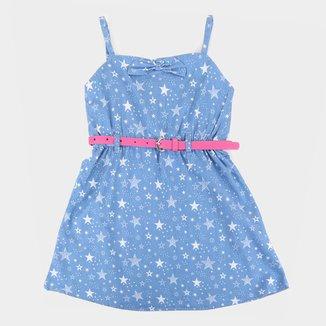 Vestido Infantil Plural Kids Jeans Alcinha Estrelas c/ Cinto