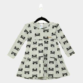 Vestido Infantil Pulla Bulla Estampado Camadas Manga Longa