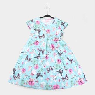 Vestido Infantil Quimby Manga Curta Jacquard Estampado