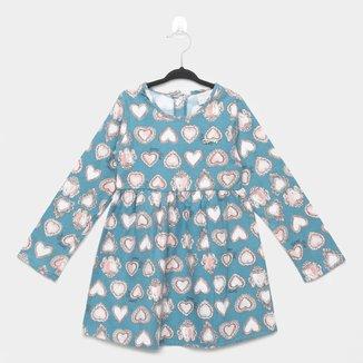 Vestido Infantil Quimby Manga Longa Em Tecido Flanelado