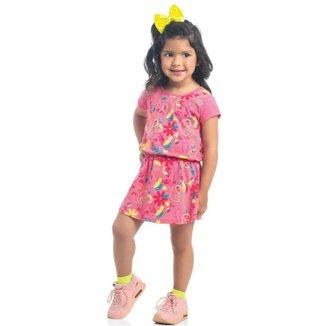 Vestido Infantil Verão, Animais e Flores Neon, Rosa - Kamylus