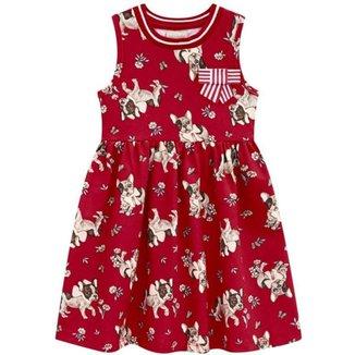 Vestido Infantil Verão, Cachorro e flores - Milon