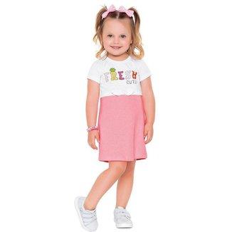 Vestido Infantil Verão, Detalhe Rosa Neon - Fakini