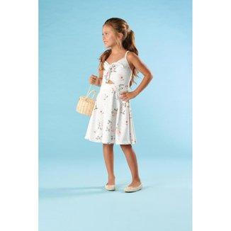 Vestido Infantil Verão Flores Delicadas - Kiki Xodó
