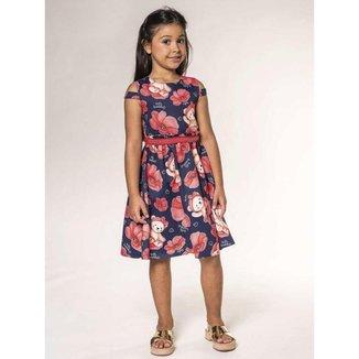 Vestido Infantil Verão, Ursa e Flores Vermelhas, Azul Marinho - Kukiê