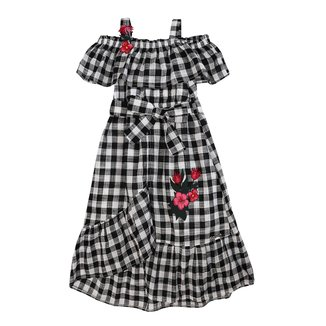 Vestido Infantil Xadrez com Flores Anime