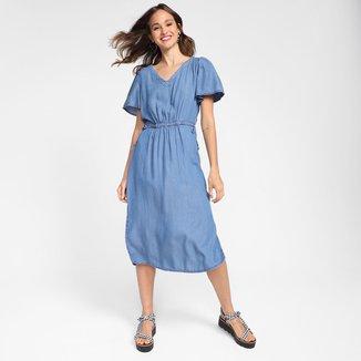 Vestido Jeans Cambos Amarração Feminino