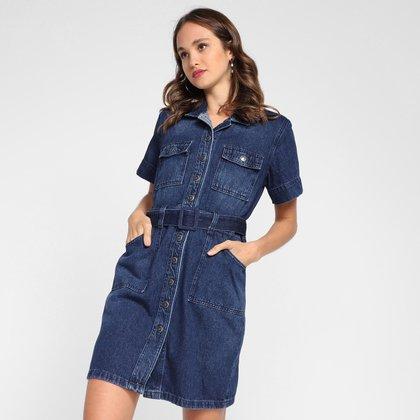Vestido Jeans Cambos Com Cinto Feminino