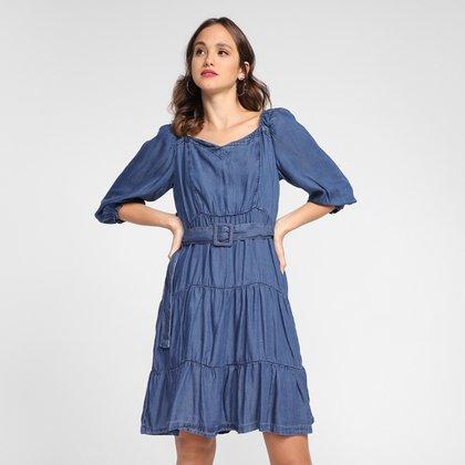 Vestido Jeans Cambos Manga Bufante Feminina