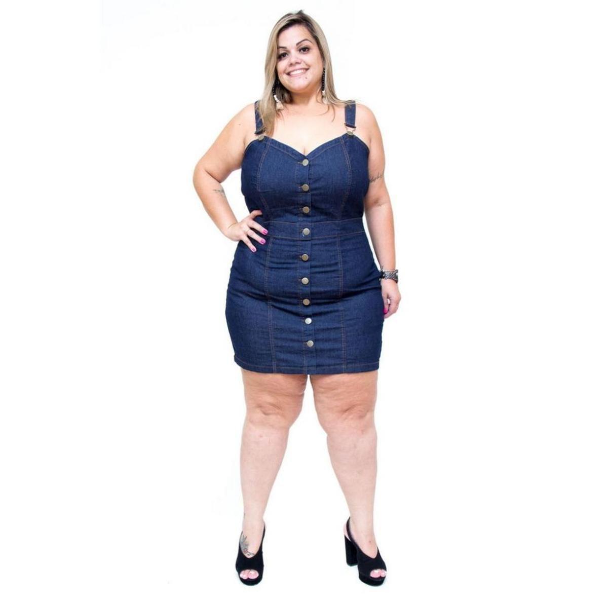 Vestido Jeans Cambos Salopete Plus Size Rael Feminino Azul