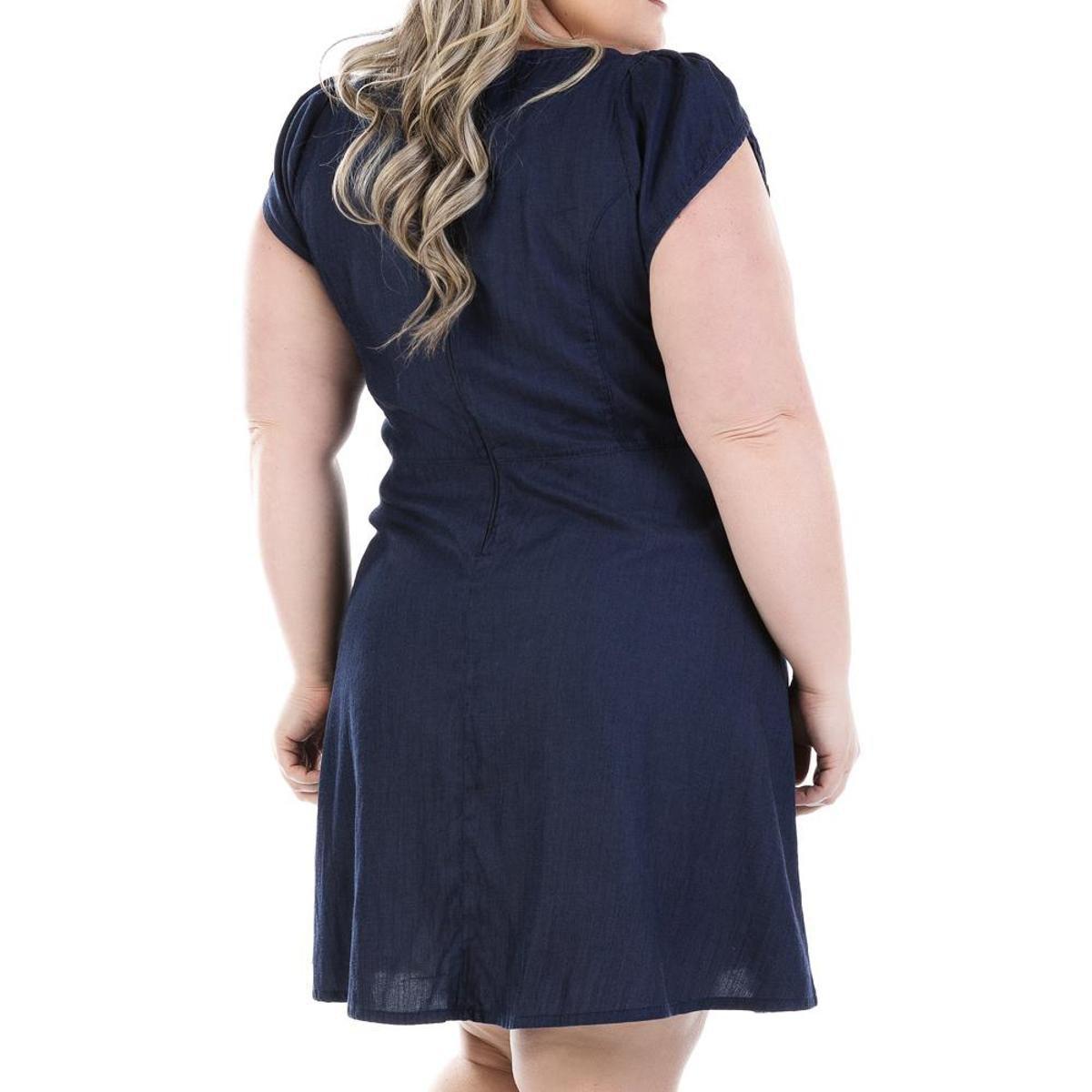 4907c6699b Vestido Jeans Confidencial Extra Evasê Plus Size Feminino - Marinho ...