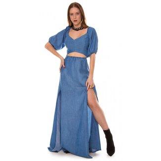 Vestido Jeans Express Longo Milla Feminino