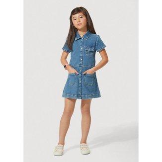Vestido Jeans Infantil Com Elastano Play Jeans Hering Kids Feminino