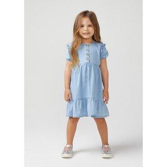 Vestido Jeans Infantil Feminino Com Babado Toddler